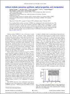 Lithium niobate nanowires synthesis, optical properties ...