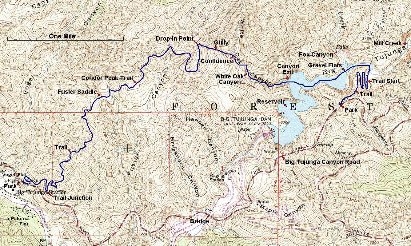 White Oak Canyon Map