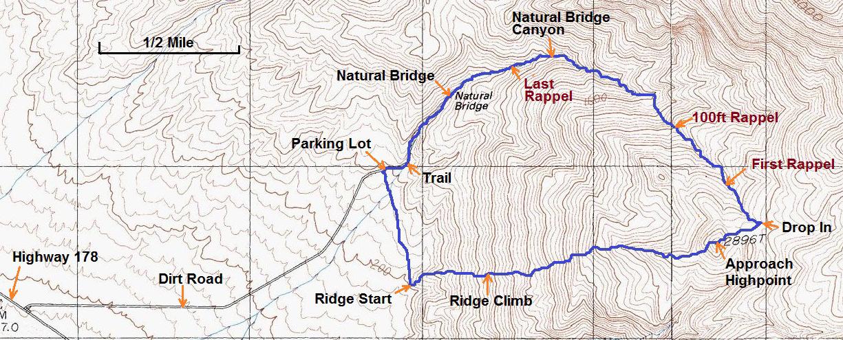 Natural Bridge Canyon Death Valley Map