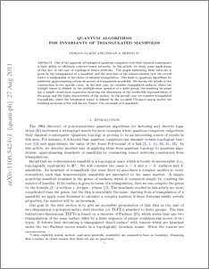 Quantum algorithms for invariants of triangulated manifolds