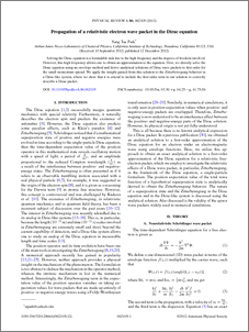 Propagation of a relativistic electron wave packet in the Dirac