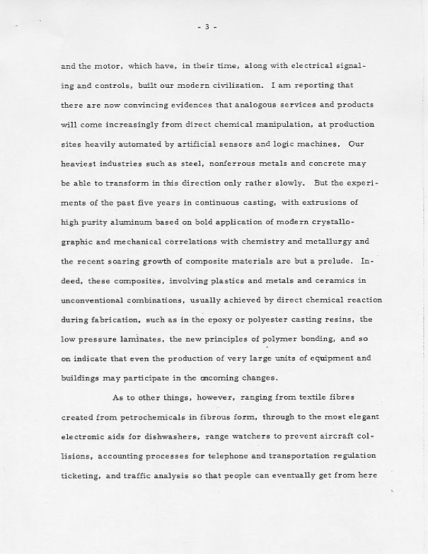 Presentation By Baker To The Presidentu0027s Science Advisory Committee,  December 16, 1965, Arguing For More Funding For Chemical Research.