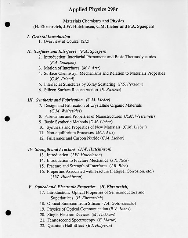 Materials science courses at Harvard University, 1994-2000