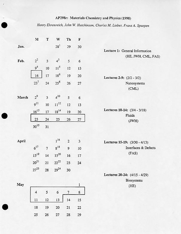 Materials science courses at Harvard University, 1994-2000